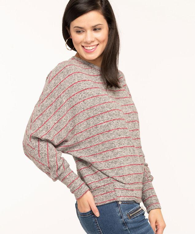 Grey Stripe Dolman Sleeve Top, Grey/Red