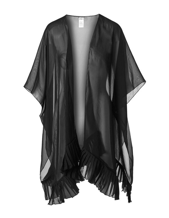 Black Pleated Kimono, Black, hi-res