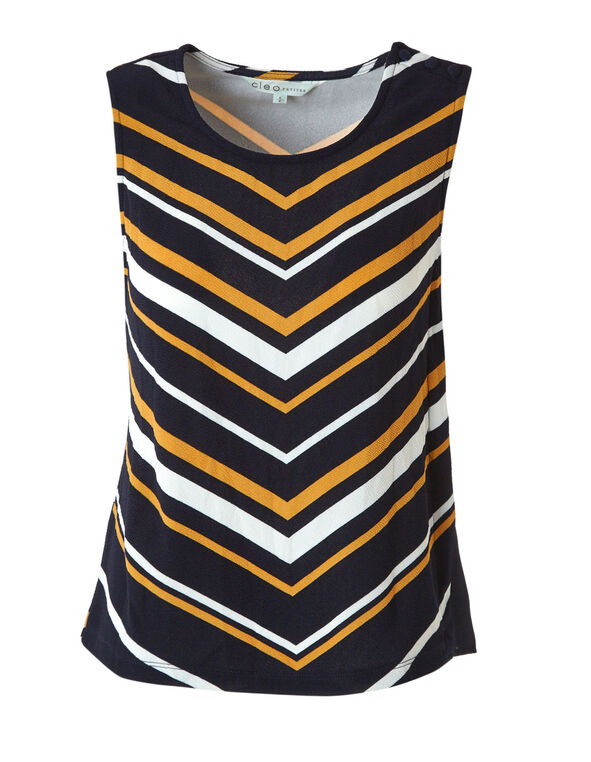 Navy Striped Crepe Top, Navy, hi-res