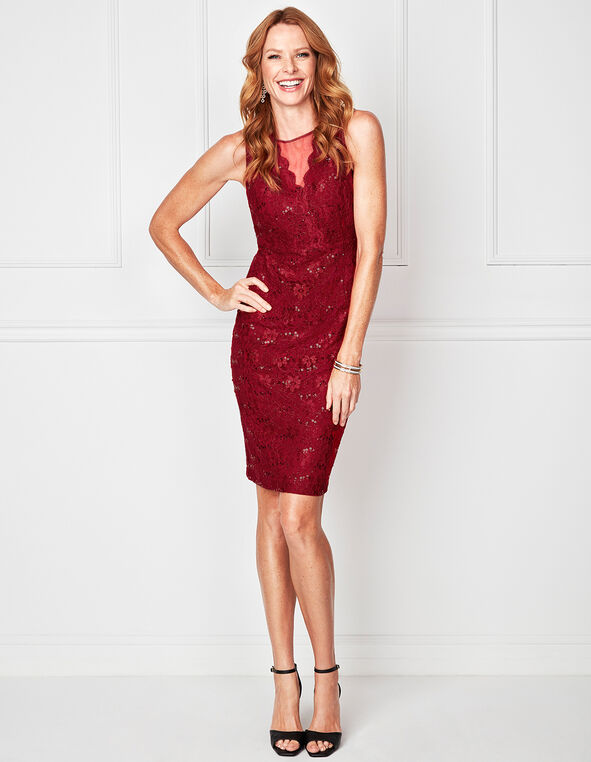 Red Shimmer Mesh Insert Dress, Red, hi-res