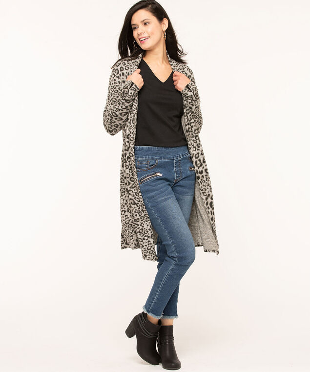 Grey Animal Print Open Cardigan, Grey
