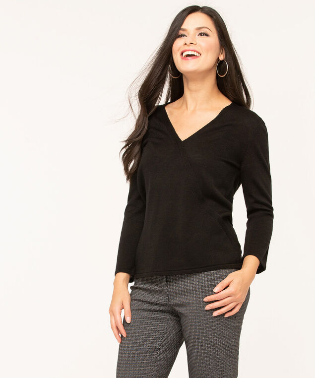 Black V-Neck Wrap Front Sweater, Black, hi-res