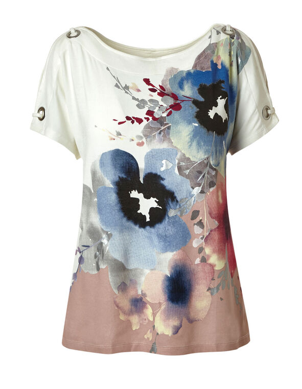 Pink Floral Placement Printed Top, Pink/Ivory, hi-res