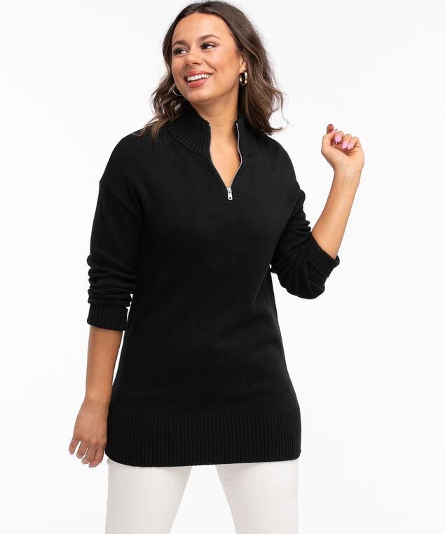 Quarter Zip Tunic Sweater, Black