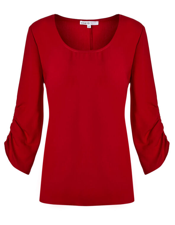 Red Ruched Cuff Blouse, Red, hi-res