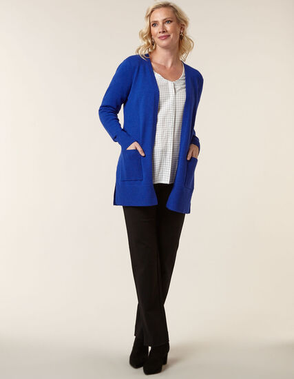 Royal Blue Basic Cardigan, Blue, hi-res