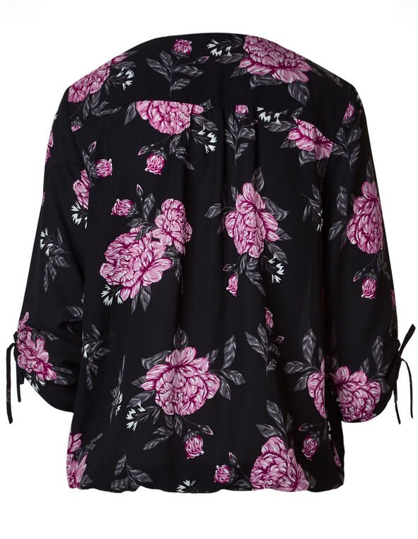 Black Floral Ruched Detail Blouse, Black, hi-res