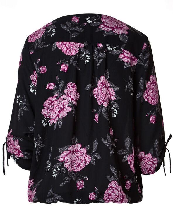 Black Floral Ruched Detail Blouse, Black, hi-res
