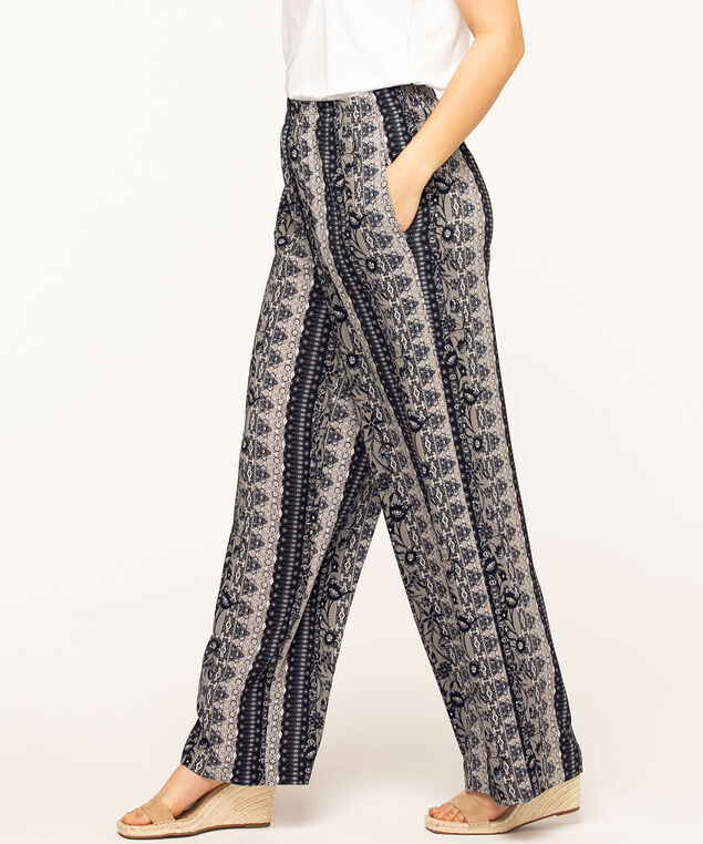Navy Print Crepe Palazzo Pant, Navy/Light Grey/Ivory