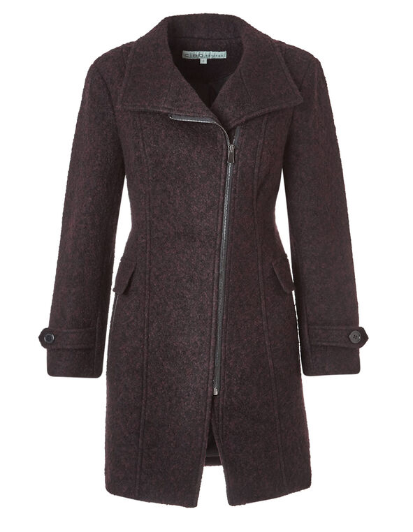 Wine Asymmetric Wool Coat, Wine, hi-res