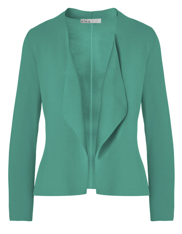 Turquoise Crepe Open Mid Cardigan, Turquoise, hi-res