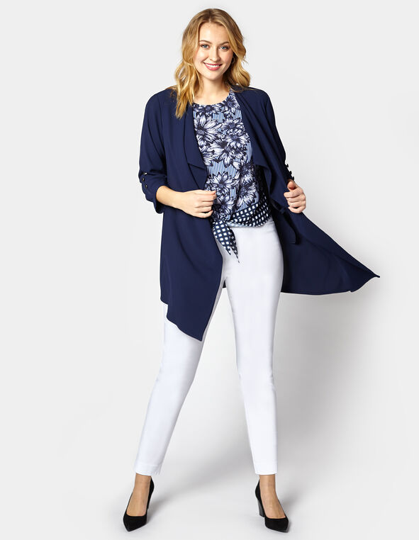Navy Ruched Sleeve Draped Blazer, Navy, hi-res