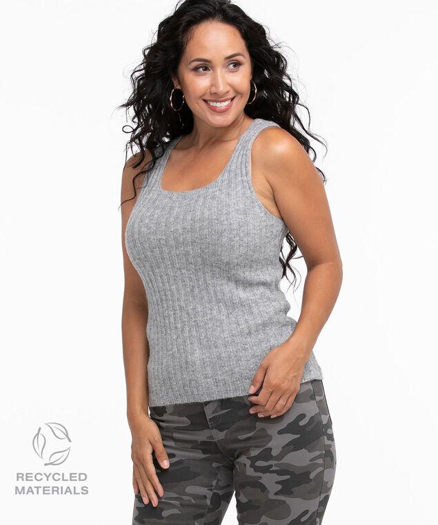 Recycled Ribbed Sleeveless Sweater, Grey Mix