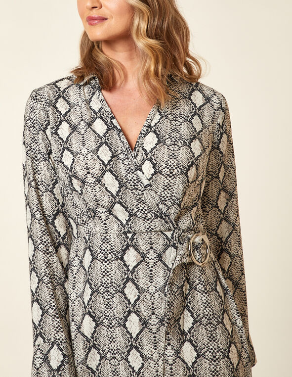 Snake Printed Wrap Dress, Grey, hi-res