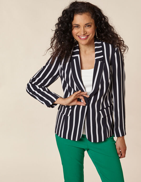 White Stripe Navy Blazer, Navy, hi-res