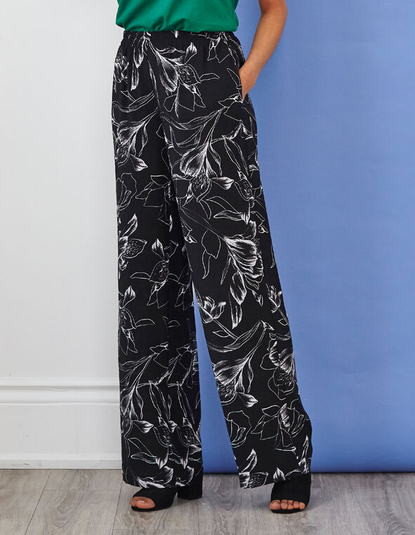 Black Printed Wide Leg Pant, Black, hi-res