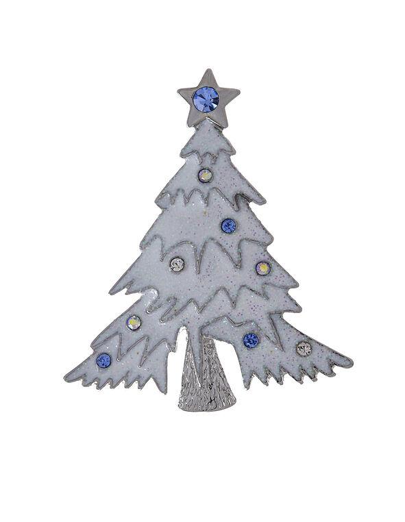 White Christmas Tree Pin, White, hi-res