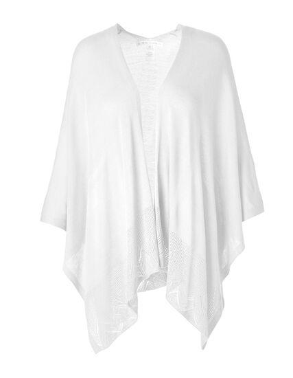 White Open Stitch Kimono Sweater, White, hi-res