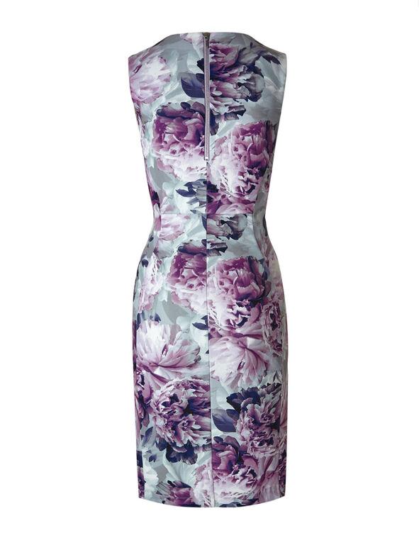 Purple Floral Sheath Dress, Purple, hi-res
