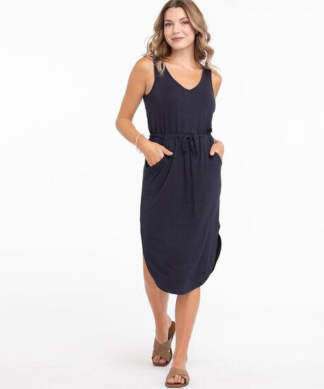 V-Neck Drawstring Pocket Dress, Navy, hi-res