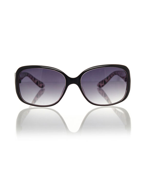 Black Two-Tone Medium Sunglasses, Black/Purple, hi-res