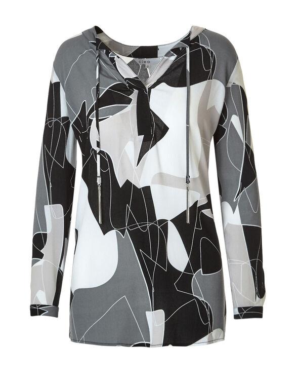 Neutral Geometric Printed Blouse, Neutral Pattern, hi-res