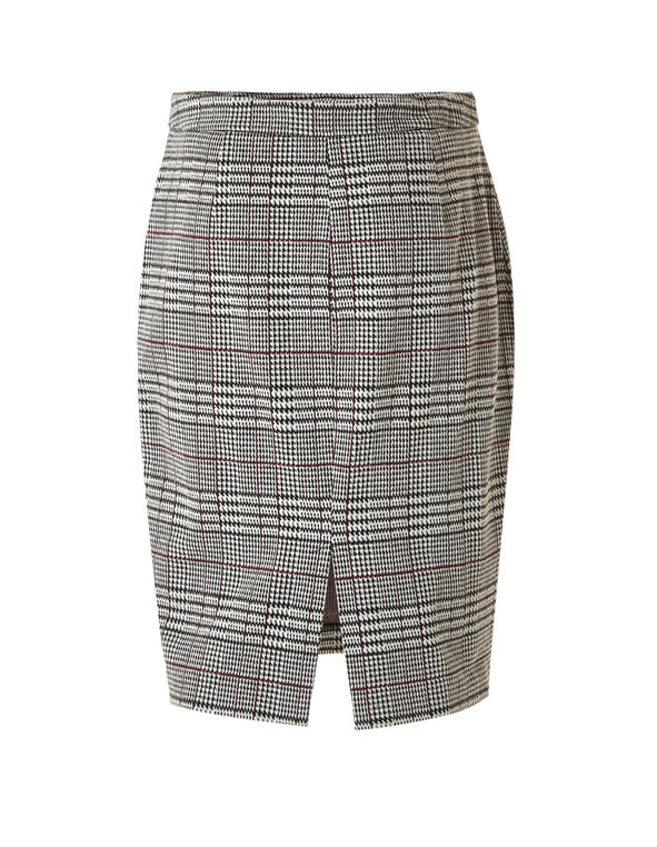 Houndstooth Pull On Pencil Skirt, Black, hi-res