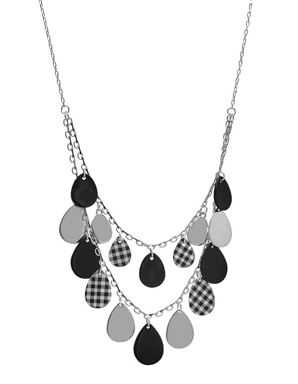 Short Black Gingham Necklace, Black, hi-res
