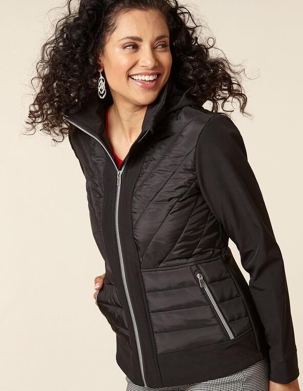 Black Mix-Media Short Coat, Black, hi-res