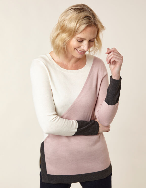 Blush Colour Block Tunic Sweater, Pink, hi-res