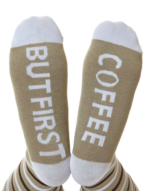 But First Coffee - Brown Crew Sock, Brown, hi-res
