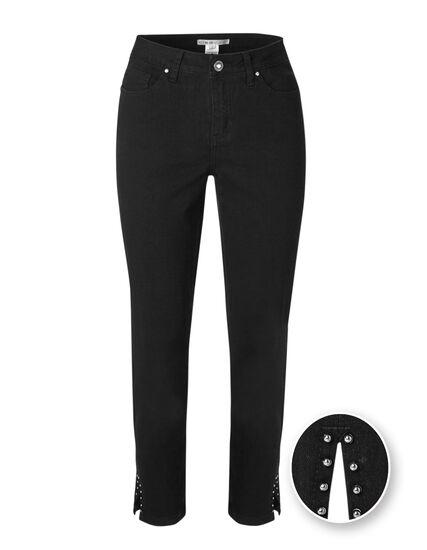 Black Curvy Studded Ankle Jean, Black, hi-res