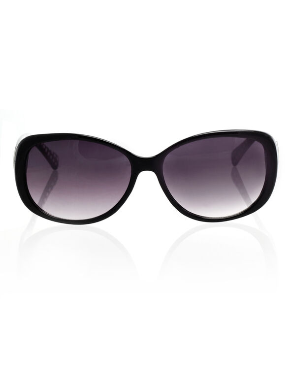 Black Polka Dot Sunglasses, Black, hi-res