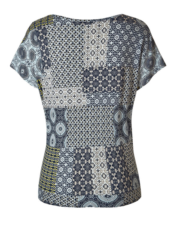 Navy Printed Side Tie Top, Navy, hi-res