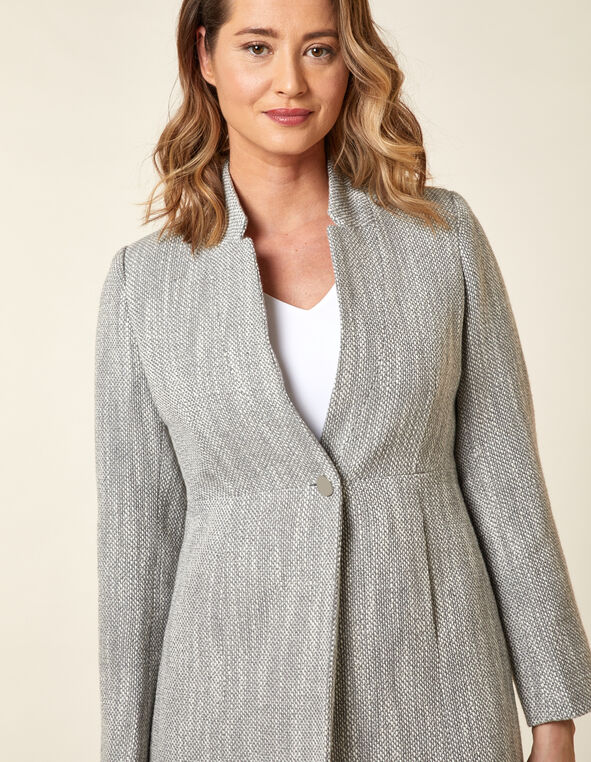Mid Grey Tweed Coat, Grey, hi-res