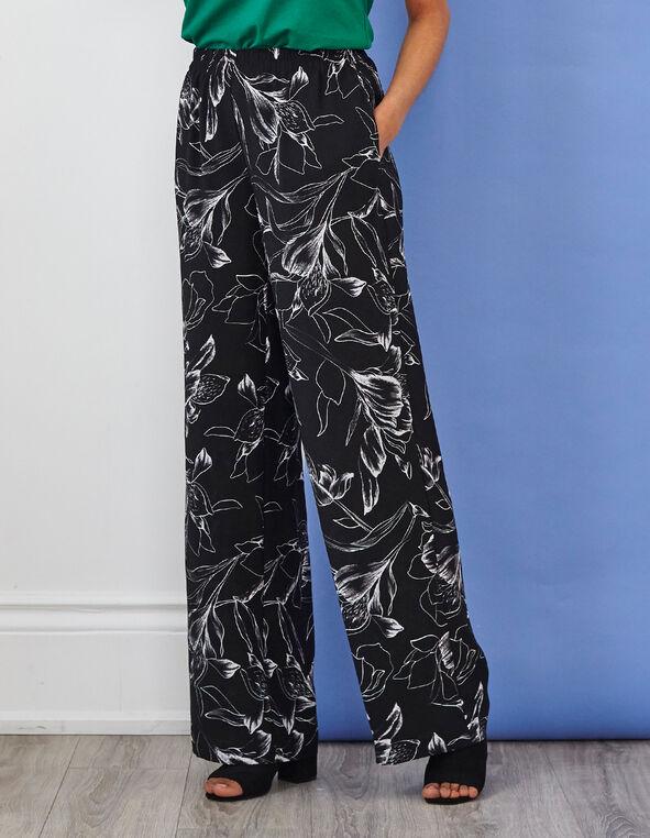 Black Printed Wide Leg Pant, Black, hi-res