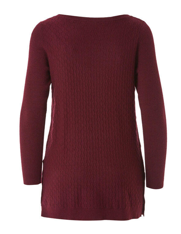 Merlot Embossed Knit Sweater, Merlot, hi-res