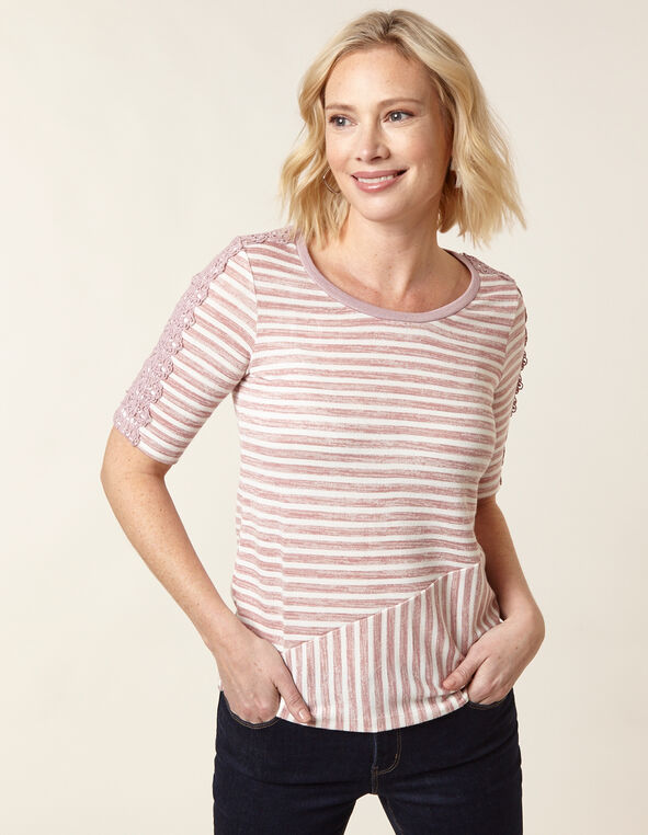 Blush Striped Hacchi Top, Blush, hi-res