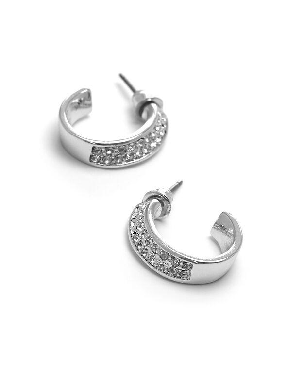 Silver Genuine Crystal Swoop Earring, Silver, hi-res