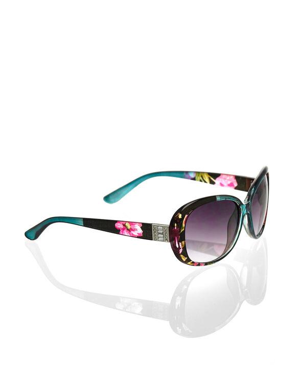 Floral Oval Frame Sunglasses, Black, hi-res