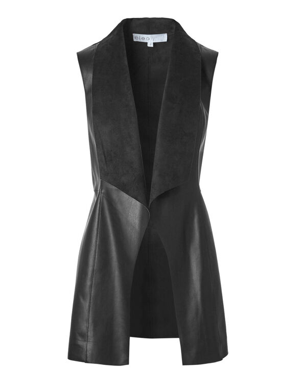Black Drape Faux Leather Vest, Black, hi-res
