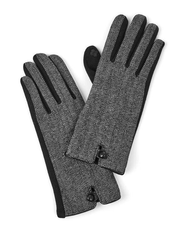Black and White Text Gloves, Black, hi-res