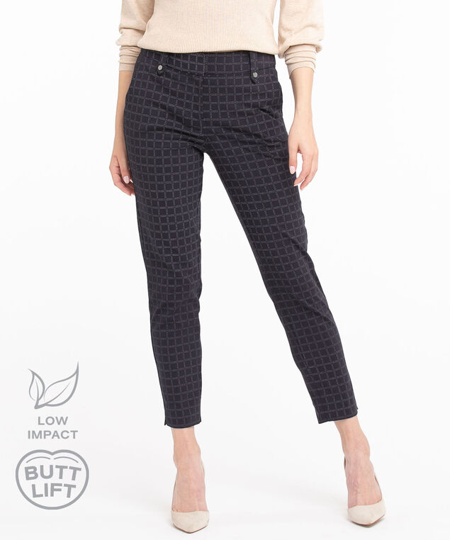Low Impact Butt Lift Ankle Pant, Navy Grid