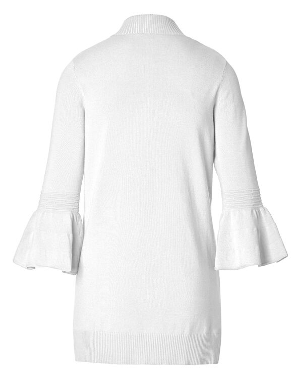 White Bell Sleeve Mid Cardigan, White, hi-res