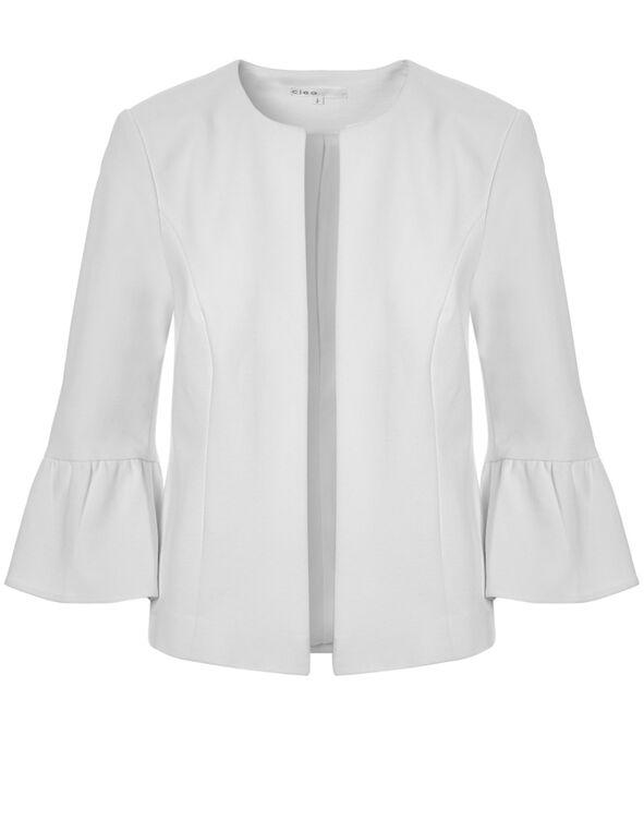 White Open Front Blazer, White, hi-res