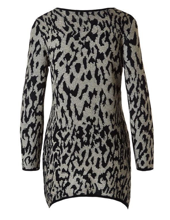 Animal Printed Lurex Tunic Sweater, Black/Yellow/Gold, hi-res