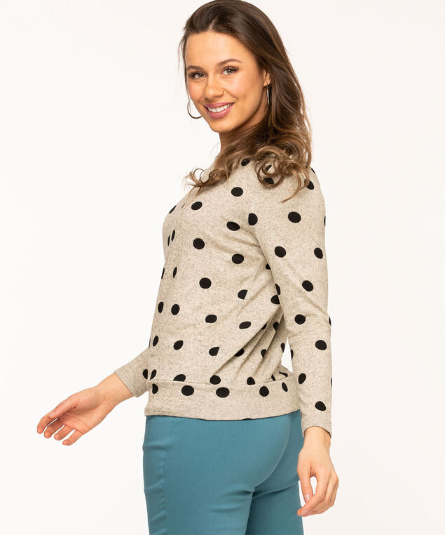 Scoop Neck Lightweight Knit Top, Oatmeal/Black Dot
