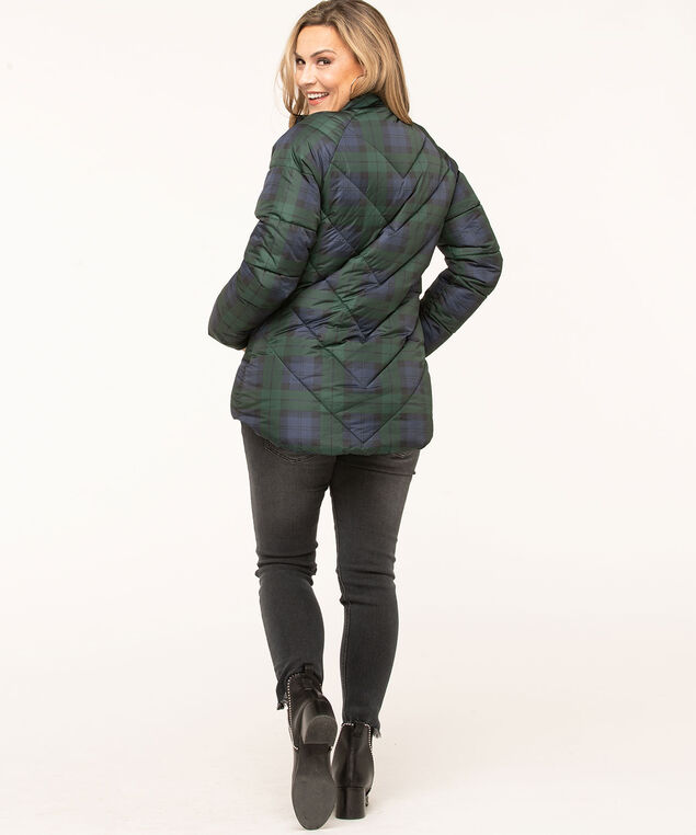 Printed Faux Down Puffer Jacket, Forest Green/Navy/Black