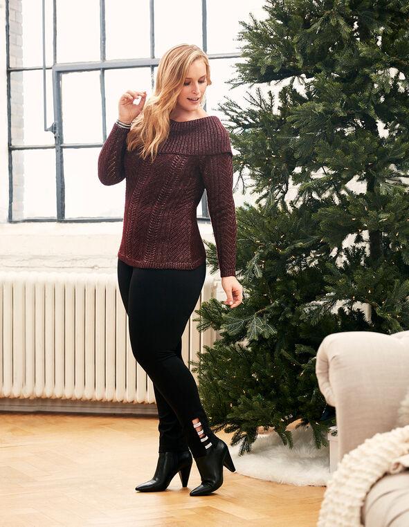Burgundy Marilyn Tie Back Sweater, Burgundy, hi-res