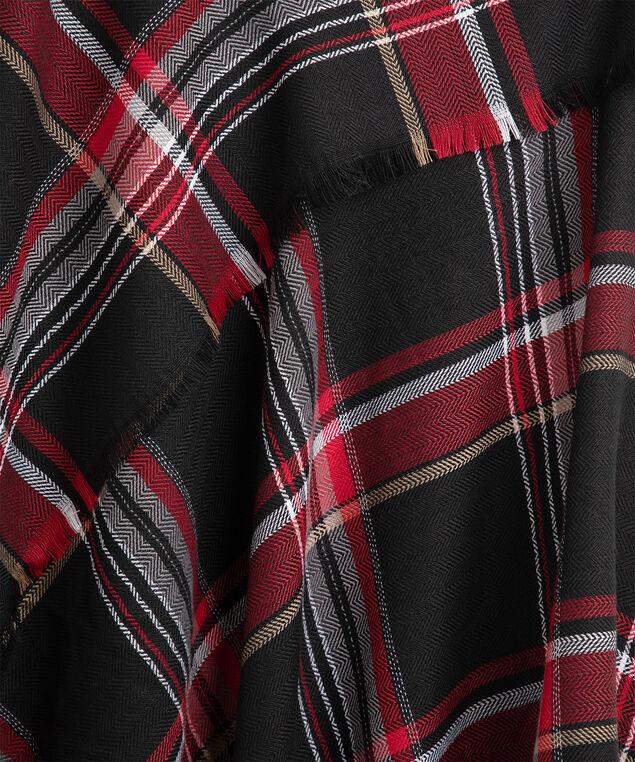 Plaid Triangle Scarf, Red/Black